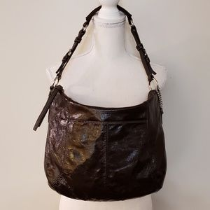 Coach Brown Patent Leather Hobo Handbag